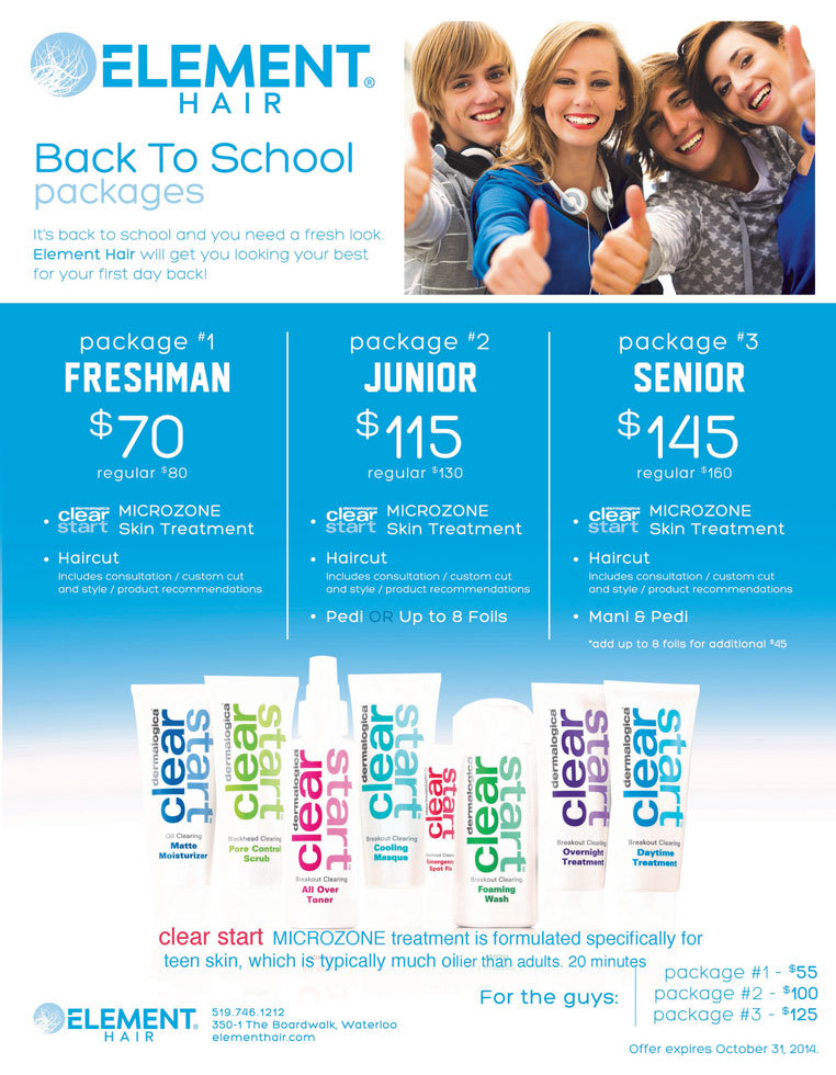 Back to school Element Hair Salon Waterloo
