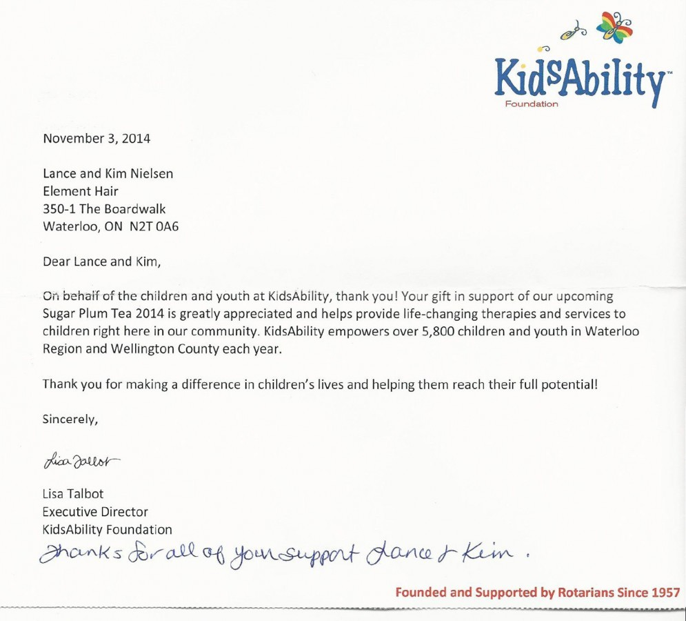 Kidsability thank you letter to Element Hair