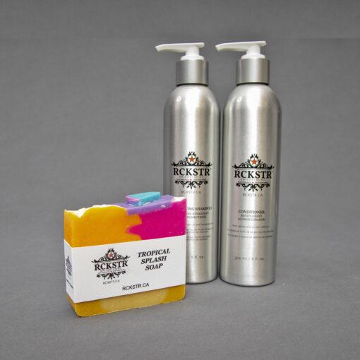 Moisturizing shampoo and conditioner plus free soap bar